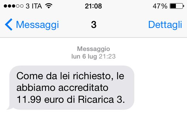 SMS di accredito credito residuo