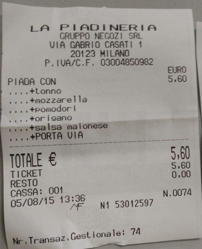 Scontrino La Piadineria